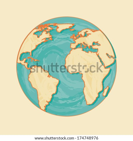 geographic design over pink  background vector illustration  - stock vector