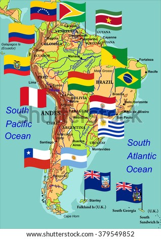 Geographic map of South America with flags of states. Highly detailed vector illustration. Flags, names of countries, cities and rivers are on the isolated layers. - stock vector