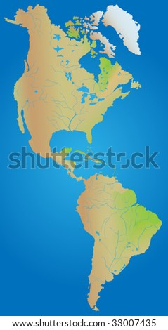 Geographical map of continent of North, Middle and South America - stock vector