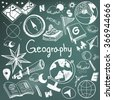 Geography and geology education subject chalk handwriting doodle icon of earth exploration and map design sign and symbol in blackboard background paper used for presentation title header (vector)  - stock photo