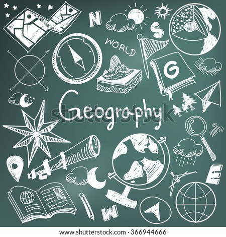 Geography and geology education subject chalk handwriting doodle icon of earth exploration and map design sign and symbol in blackboard background paper used for presentation title header (vector)  - stock vector