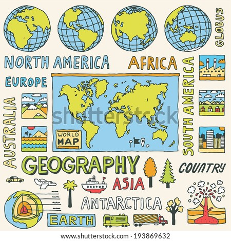 Geography. Hand drawn. Vector illustration. - stock vector