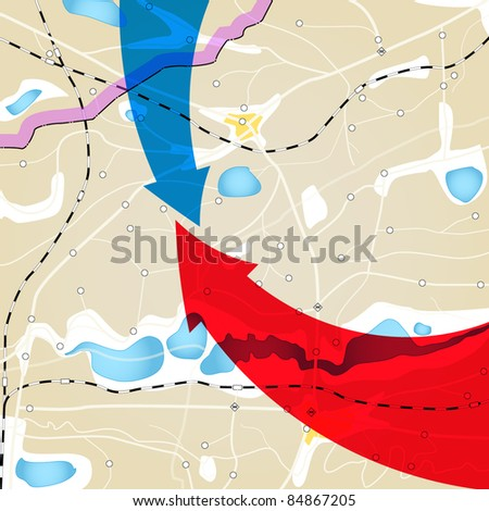 Geography plan with color arrows - stock vector