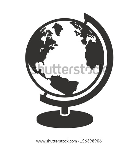 geography school earth globe black web icon. vector illustration - stock vector