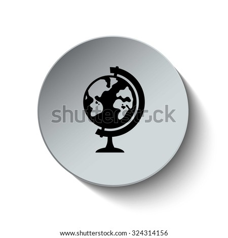Geography school earth icon. School Globe icon. Rounded button. Vector Illustration. EPS10 - stock vector