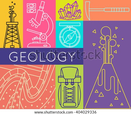 Geology concept poster vector illustration. Design elements in modern trendy style with minerals, backpack, rock folds, oil derrick, compass, volcano, hammer, microscope, rock layers.  - stock vector