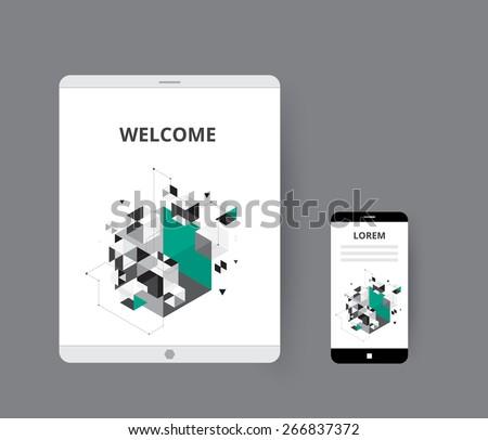 Geomentry  polygon on smart device. vector illustration - stock vector