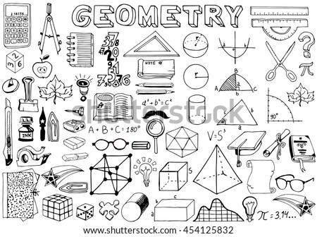 Geomerty Science Doodle Handwriting Elements. Science and School Education theme.