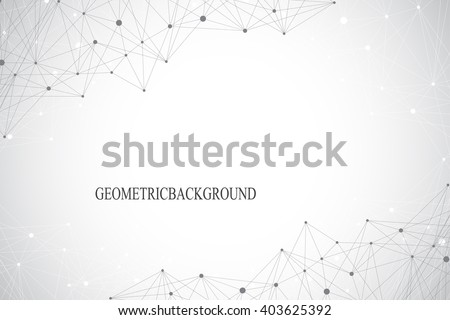 Geometric abstract background with connected line and dots. Graphic background for your design. Vector illustration. - stock vector