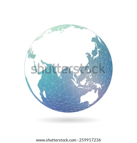 Geometric abstract earth globe sphere concept illustration. Vector graphic template isolated on light white background