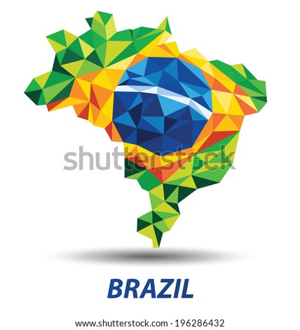 geometric abstract in Brazil flag concept - stock vector