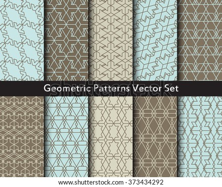 Geometric abstract objects patterns vector set in gray and blue colors. Ten seamless patterns of triangles, hexes, polygons, diamonds, cubes, squares, hexagons. Big vector set of geometric figures. - stock vector