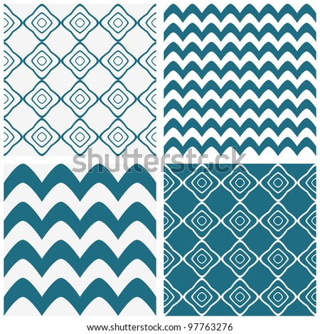 Geometric abstract seamless patterns set #2 - stock vector