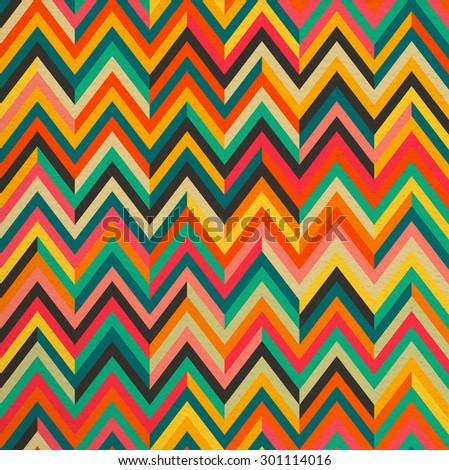 Geometric abstract zigzag colorful vintage retro seamless pattern background. Ideal for fabric, wrapping paper and book cover design. EPS10 vector file. - stock vector