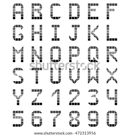 geometric alphabet font gray number on the white background