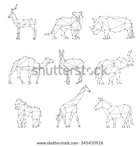 Geometric animals silhouettes. Unusual logo, roe and lion, rhino and camel, elephant and gorilla, vector illustration - stock vector