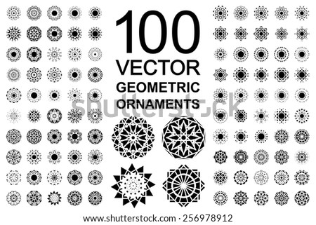 Geometric asian ornament set. Vector isolated symbols - stock vector