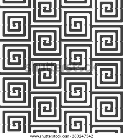 Geometric background with black and white stripes. Seamless monochrome  pattern with zebra effect.Alternating black and white cut rounded squares. - stock vector