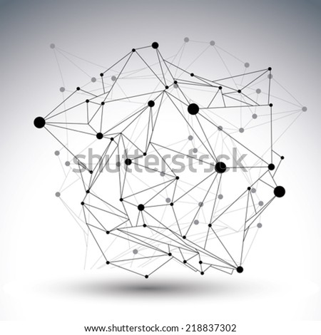 Geometric black and white polygonal structure with wire mesh, modern chaotic science and tech object. - stock vector