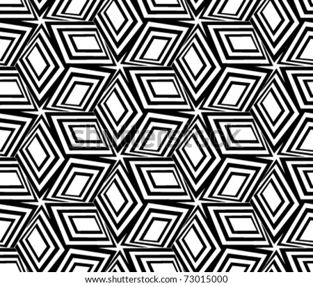 Geometric black and white seamless pattern. 3d boxes repeat background.