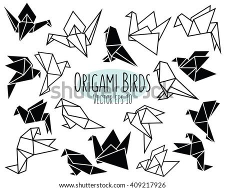 Geometric Black Origami Birds Vector - stock vector