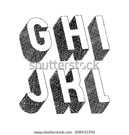 Geometric bold rounded 3d font with hand drawn lines textures, letters g h i j k l. - stock vector