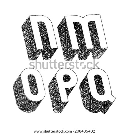 Geometric bold rounded 3d font with hand drawn lines textures, letters m n o p q - stock vector