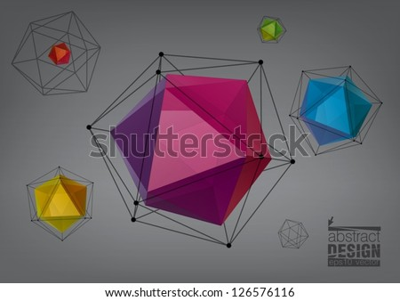 Geometric composition from transparent icosahedron for graphic design - stock vector