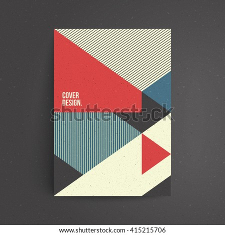 Geometric cover design. Craft paper texture. A4 format template for brochure,poster,flyer etc. - stock vector