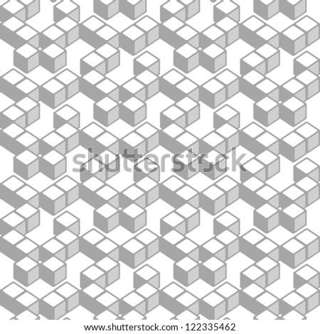 Geometric cubes, seamless vector pattern - stock vector