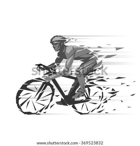 Geometric cyclist illustration - stock vector