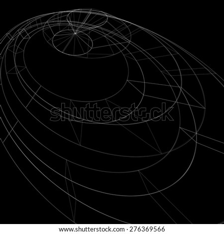 Geometric dark monochrome lattice engineering backdrop, contemporary complex 3d abstraction with lines mesh. Netting background, best for use in graphic projects. - stock vector