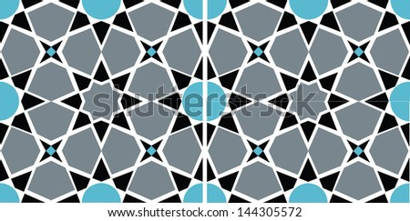 Geometric design with sharp, crisp lines reminiscent of stained glass. The high contrast colors are easily changed to suit your project. The vector includes full tile, half and quarter tile pieces. - stock vector