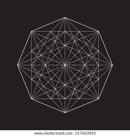 Geometric element, line design, square pattern - stock vector