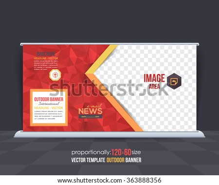 Geometric Elements Outdoor Advertising Design, Horizontal Banner, Background Template  - stock vector
