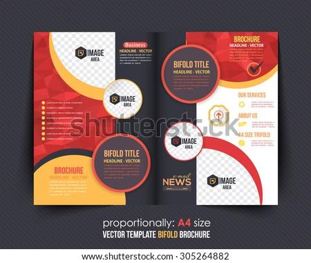 Geometric Elements Style Business Bi-Fold Brochure Design. Corporate Leaflet, Cover Template - stock vector