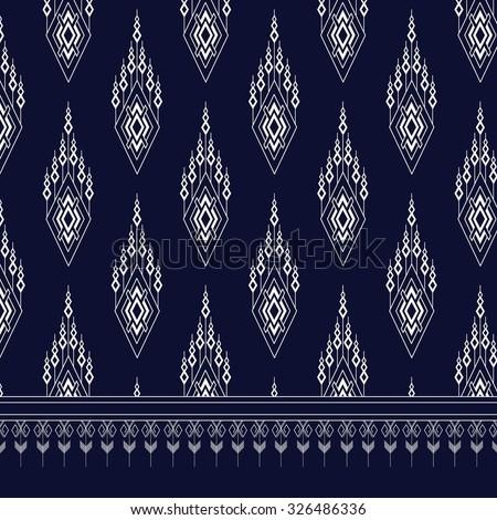 Geometric Ethnic pattern on dark blue ,White stripes and dark blue background. - stock vector