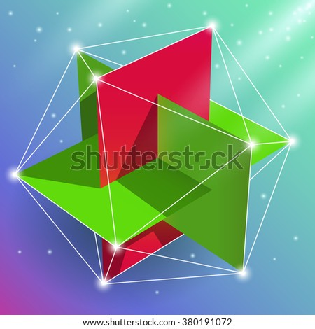 Geometric figure regular icosahedron, sacred geometry element. Visual, creative representation of the spatial construction of a multi-faceted design.