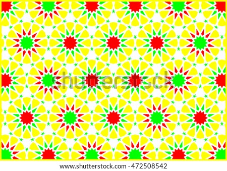 Geometric figures of styles arabic and oriental very colorfully yellow red and green
