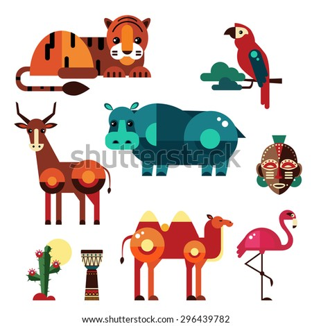 Geometric flat Africa animals and plants vector - stock vector