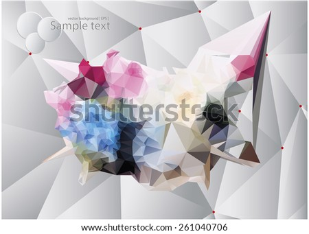Geometric flowers. Abstract polygonal flowers. Volumetric style with low poly stylized design elements - stock vector