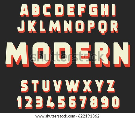 Geometric Font Modern Design Bold Letters And Numbers Vector Abc