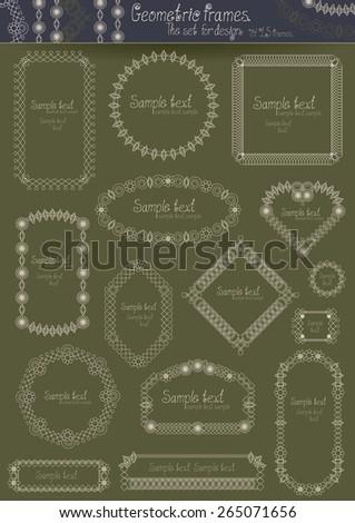Geometric frames. The set for design. - stock vector