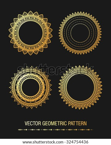 Geometric gold mandala element made in vector. Vintage decorative elements. Islam, Arabic, Indian, Tribal motifs.  - stock vector