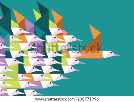 Geometric Group of birds. Leadership and Competition concept. Flat vector illustration - stock vector