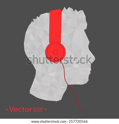 Geometric head  profile with headphone music illustration vector - stock vector
