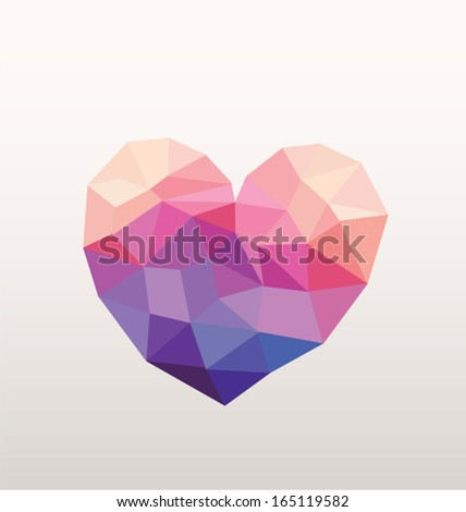 Geometric Heart Vector in Rainbow Hipster Colors - stock vector