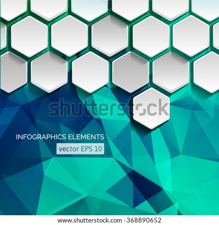 Geometric Hexagonal Shapes Background for Business / Web Design / Print / Presentation - stock vector