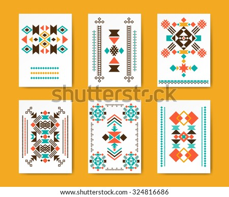 Geometric hipster tribal triangular flyers. Ethnic traditional graphic, creative pattern, vector illustration - stock vector
