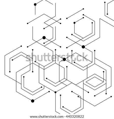 Geometric lines and dots. Line pattern. Modern cube background. Cell abstraction. Connection vector illustration for print and web design. Network black pattern. Organic concept. - stock vector